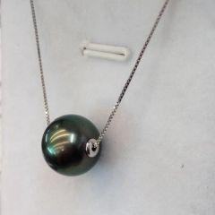 辰轩珠宝 精美珍珠项链 11-12mm黑珍珠路路通 18k金镶