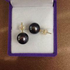 辰轩珠宝 精美珍珠耳钉 8-9mm大溪地珍珠 18k金镶