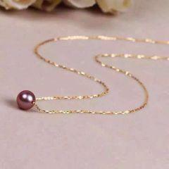 辰轩珠宝 精美珍珠项链 18k金链 9-10mm淡水彩珠 正圆无瑕
