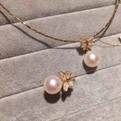 辰轩珠宝 精美珍珠套装  akoya海珠套装 项链 戒指 14k金 9-10mm