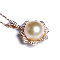 嘉和珠宝 天然南洋金珍珠吊坠 14K黄金牡丹款吊坠 11-12mm金珠