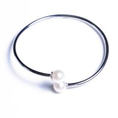 嘉和珠宝 S925银手镯 正圆无瑕强光 8-9mm圆珠 手环可调节