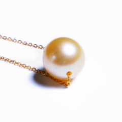 嘉和珠宝 天然南洋金珠路路通穿心链 10-11mm金珠 18K黄金O字链