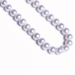 嘉和珠宝 饱满馒头圆珍珠项链 强光表皮光滑无瑕 9-10mm 925银扣