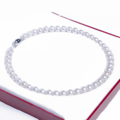 嘉和珠宝 饱满馒头圆珍珠项链 强光珍珠 表皮光滑无瑕 925银扣