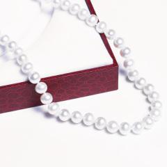 嘉和珠宝 天然淡水珍珠项链 7-8近圆微瑕 925银扣