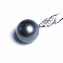 嘉和珠宝 天然大溪地黑珍珠吊坠 10-11mm正圆无瑕 S925银吊坠