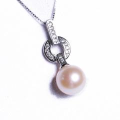 嘉和珠宝 天然淡水珍珠吊坠(10-11mm)+耳环(9-10mm)两件套 正圆无瑕珍珠