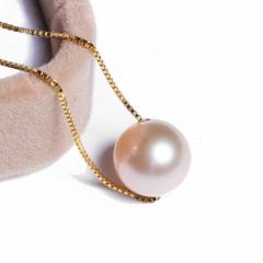 嘉和珠宝 天然淡水珍珠路路通 9-10mm正圆无瑕 白、粉、紫色 S925银链