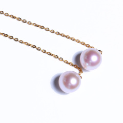 嘉和珠宝  18K黄金耳线款耳钉 6-6.5mm天然Akoya