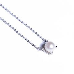 嘉和珠宝  S925银卡地亚款吊坠 8-9mm正圆无瑕淡水珍珠