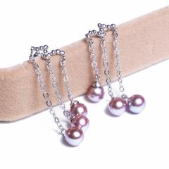 嘉和珠宝 S925银复古版耳线耳环 5-6mm淡水紫色正圆无瑕珍珠耳环