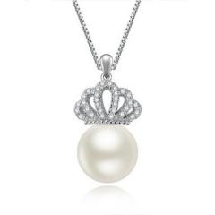 嘉和珠宝 天然淡水正圆珠吊坠 S925银皇冠款 10-11mm圆珠