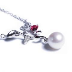 嘉和珠宝 S925银叶子款吊坠项链 9-10mm正圆无瑕淡水珍珠