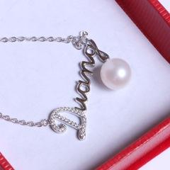 康福珠宝  正圆无瑕9-10mm 925银饰