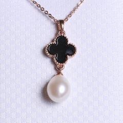 康福珠宝 滴水四叶草淡水珍珠吊坠10-11mm 合金