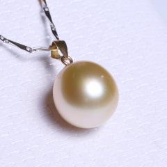 康福珠宝  金色简单款海水珠11-12mm 18K金