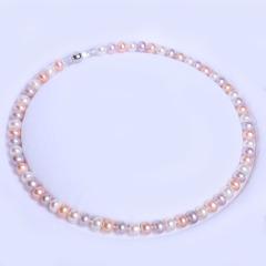 康福珠宝 加花珍珠项链 天然淡水珍珠7-8mm
