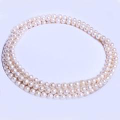 康福珠宝 长款微瑕天然淡水珠 9-10mm