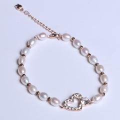 康福珠宝 一颗心米形手链 5-6mm