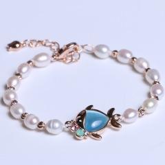 康福珠寶 扁魚米粒形珍珠手鏈 5-6mm