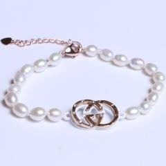 康福珠宝 两个圈米粒形珍珠手链 5-6mm