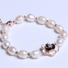 康福珠宝  一朵花米粒形珍珠手链 7-8mm