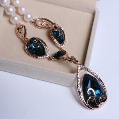 康福珠宝 微瑕海洋之星款天然淡水珍珠毛衣链 9-10mm