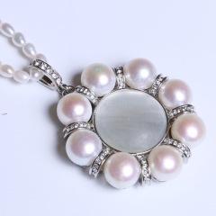 康福珠宝  八颗珍珠加小米粒形吊坠 10-11mm