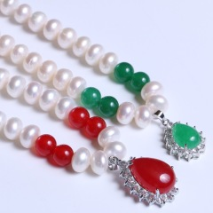 康福珠宝 无瑕天然珍珠加玛瑙 8-9mm