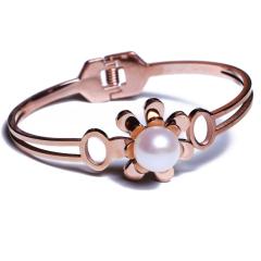 康福珠宝 钛钢带一颗珍珠手镯
