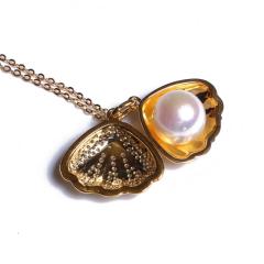 康福珠宝 贝壳淡水吊坠 10-11mm 925银饰
