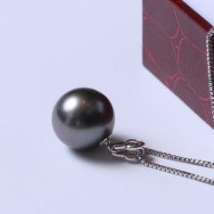 天使之淚珍珠 黑色海珠  12mm