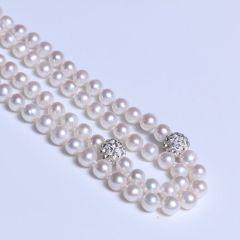 唯珍珠宝 精美珍珠毛衣链 7-8 近圆微瑕强光 毛衣链
