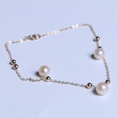 渭塘宝缘阁珠宝 黄金珠宝 珍珠脚链 包金款6-7mm脚链珍珠包金脚链圆珠型