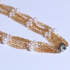 渭塘寶緣閣珠寶  珍珠水晶款珍珠項鏈毛衣鏈 小珍珠4-5mm長度45cm