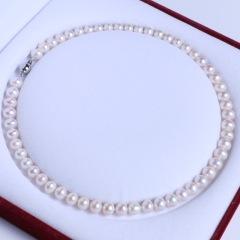 渭塘宝缘阁珠宝  8-9mm淡水珍珠项链百搭链款 45cm