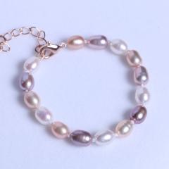 渭塘宝缘阁珠宝  珍珠手链 彩珠手链百搭款可调节 6-7mm