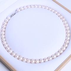 晓燕珠宝  珍珠项链 9-10毫米 厚圆珍珠项链微瑕