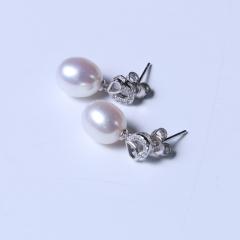 玥玥珠宝  珍珠套装链 9-10mm天然淡水珍珠滴水珠