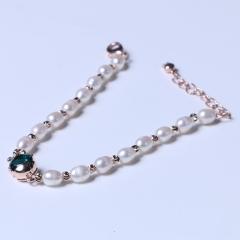 玥玥珠宝  珍珠手链 5-6mm小米珠小鱼手链镶嵌玫瑰链镭射珠