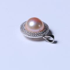 玥玥珠宝  珍珠吊坠 925银吊坠搭配11-12mm金色淡水珍珠馒头珠