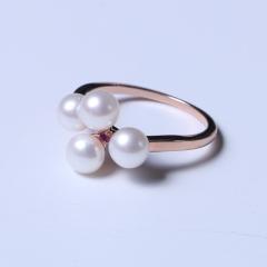 玥玥珠宝  珍珠戒指 玫瑰金戒指 5-6mm馒头小珠四颗点缀