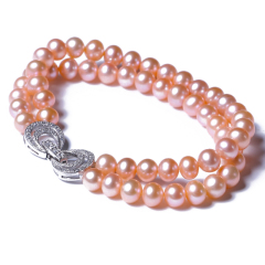 玥玥珠宝 黄金珠宝 珍珠项链 5-6mm粉色近圆珠环手链925银扣搭配项链