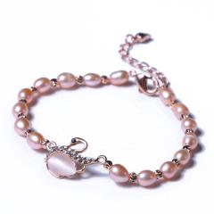 玥玥珠宝  珍珠吊坠 5-6mm小米珠镶嵌玫瑰小天鹅手链