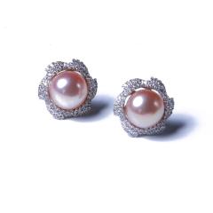 玥玥珠宝  珍珠耳钉 925银耳钉搭配 8-9mm淡水馒头珠(白、粉、紫)