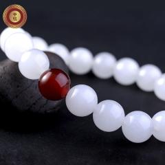 中鈺珠寶天然白色玉石手鏈手串玉珠子男女情侶款玉器手飾包郵 珠子直徑約10mm 白玉+藍瑪瑙(女款)