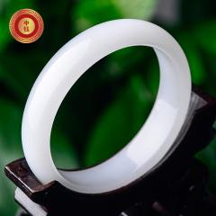 中鈺珠寶新疆昆侖山天然白色玉鐲玉手鐲子女款 正品 帶證書 內徑52-54mm