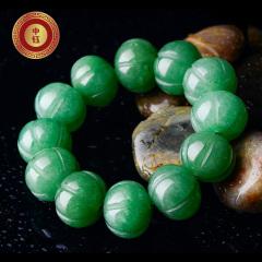 中鈺珠寶天然東陵玉石 手鏈 南瓜 佛珠 手串飾品配件 綠色