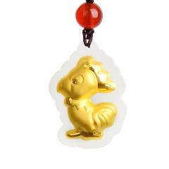 黃金和田玉石金鑲玉猴雞十二生肖屬相寶寶兒童男女本命年禮物吊墜 子鼠